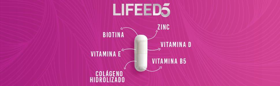 lifeed5 lifeed biotina colageno hidrolizado zinc vitamina e vitamina d vitamina d3 vitamina b5 c