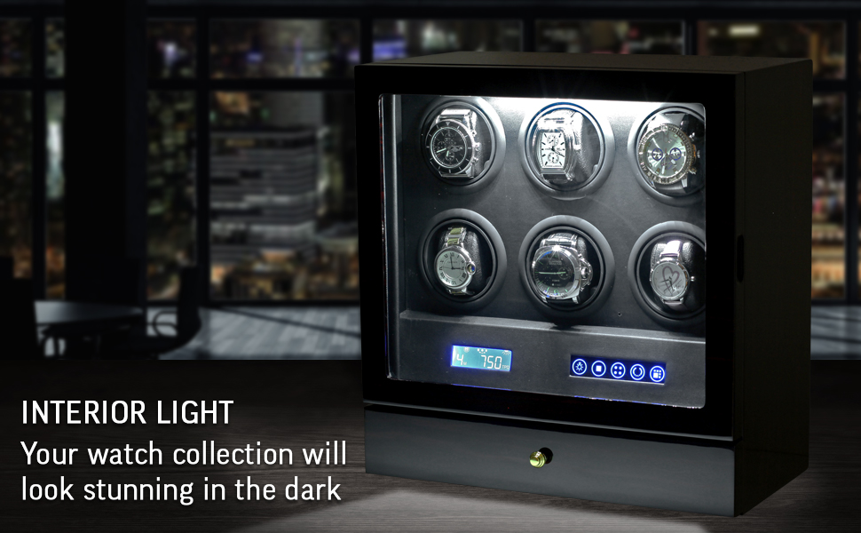 Watch winder LED backlight