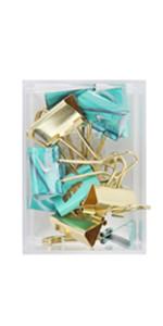 light blue green gold binder clip office