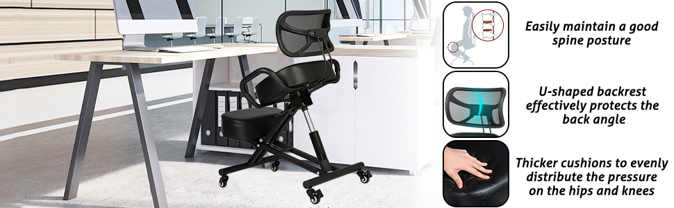 more details of kneeling chair