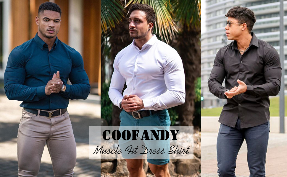 COOFANDY Men Muscle Fit Untucked Shirts WrinkleFree Dress Shirt Long Sleeve Casual Button Down Shirt