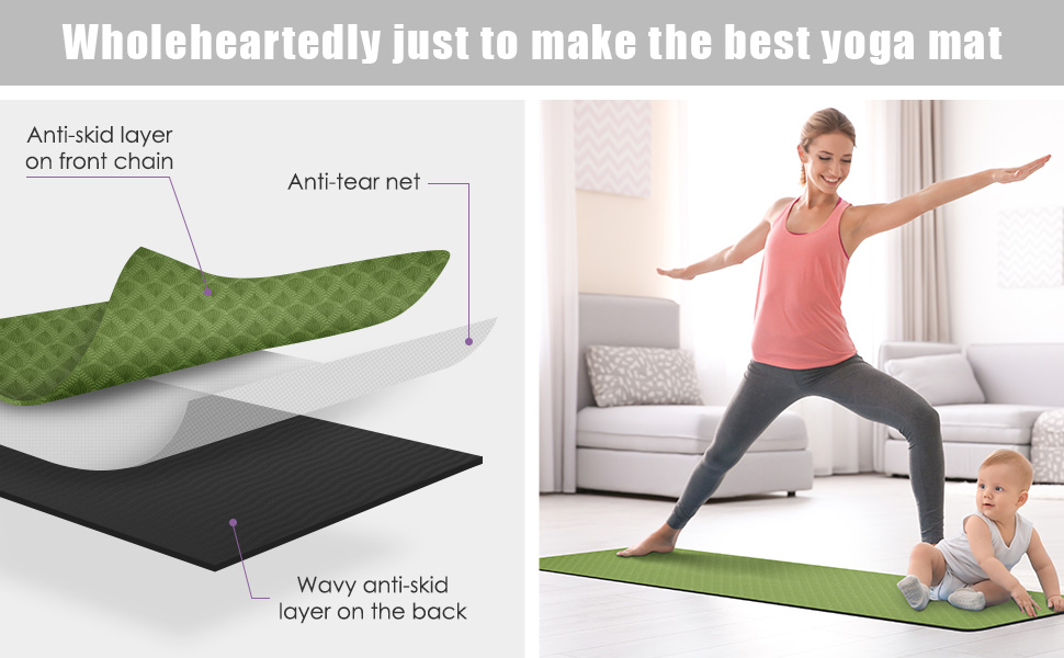 Non-Slip Yoga Mat Exercise & Workout Mat with Carrying Strap