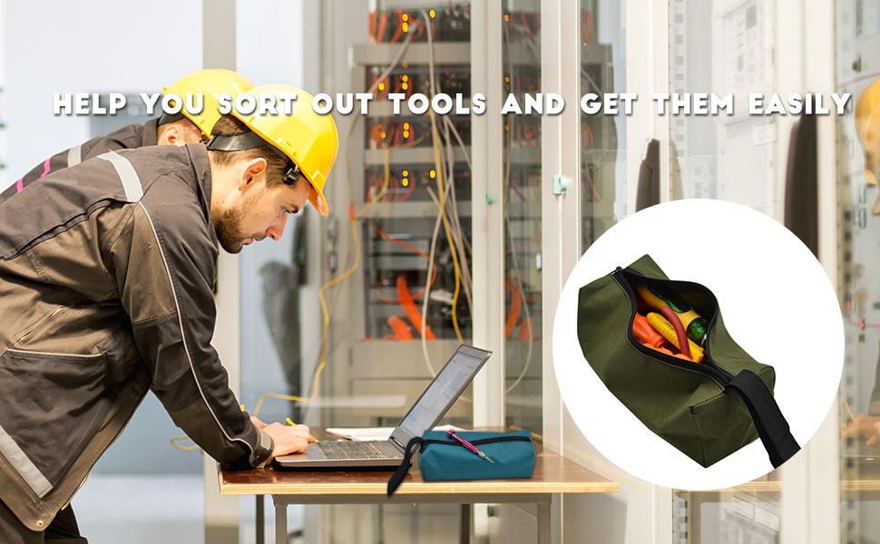 NOPNOG Bolsa de herramientas peque/ña con cremallera para tornillos y clavos Oxford 19,7 x 11 cm impermeable color amarillo