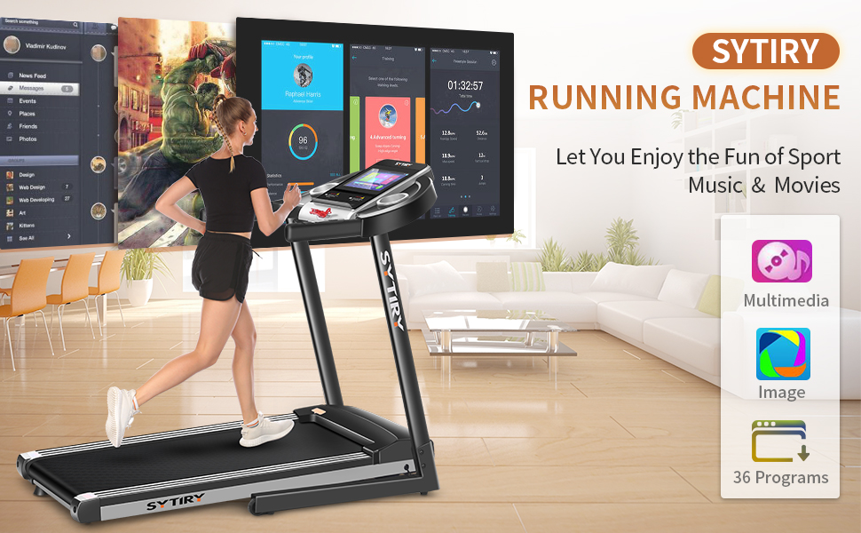 SYTIRY home treadmill with WIFI control, with popular Facebook, youtube and music, video playback