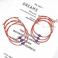 6 red string evil eye bracelets