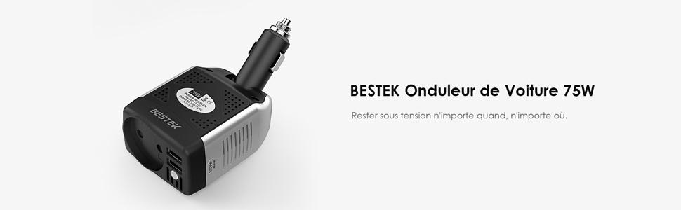 BESTEK Convertisseur 12V en 220V Chargeur Allume Cigare 75W Noir