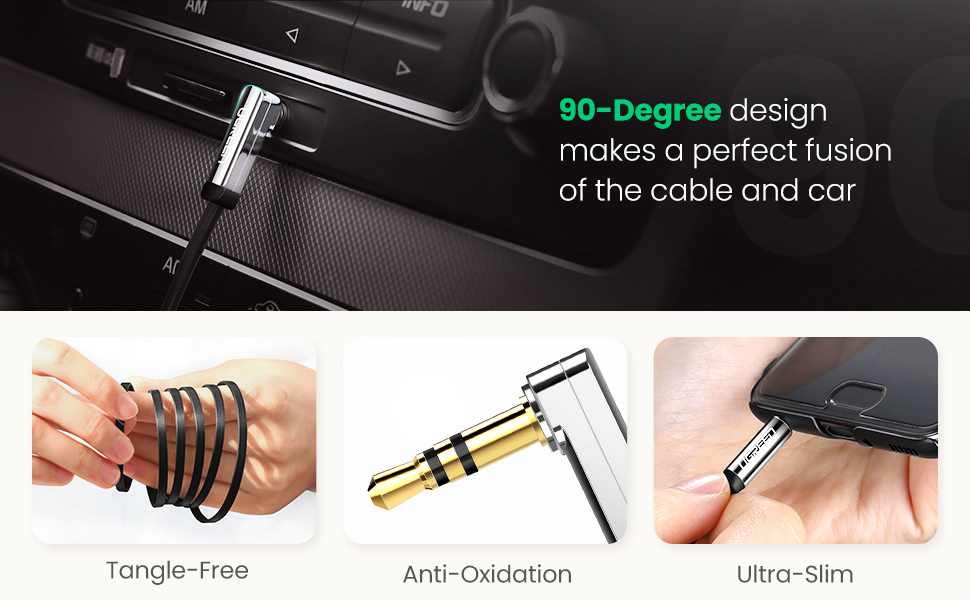 aux jack to mini jack male to male audio lead for car