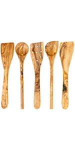 Tramanto Olive Wood 5 Piece Utensil Set, 12 Inch