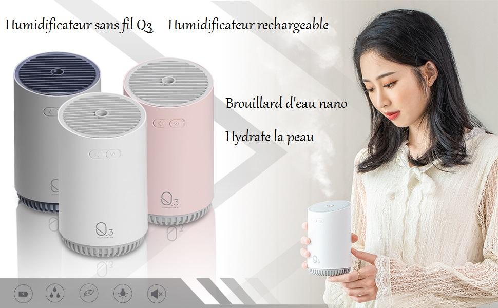 LED /à 7 Couleurs Arr/êt automatique Walant Humidificateur dair Q3 Petit Portable Maison USB Night Light Large Capacity Silent Mini Humidificateur 320 ML pour Chambre B/éb/é Salon Bureau
