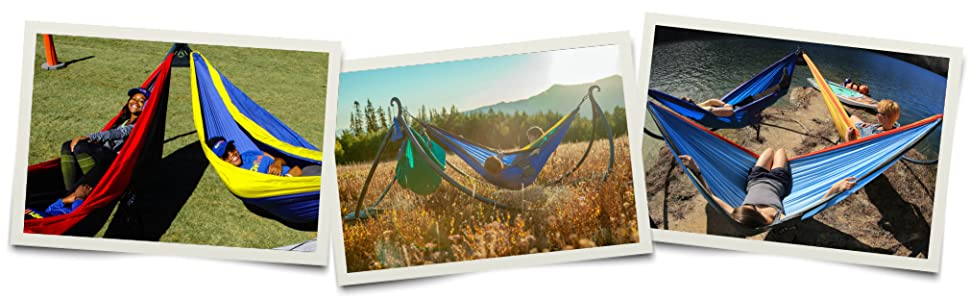 Lifestyle photos of ENOpod Hammock Stand