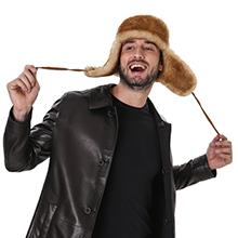 Shearling hat for men