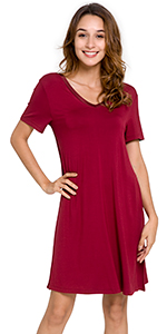 Soft Bamboo Pajamas Short Sleeve Nightgowns V Neck Sleep Shirt Plus Size