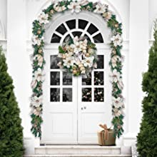 Valery Madelyn Pre-Lit 30 inch Elegant Champagne Gold Christmas Wreaths for Front Door with Ball Ornaments Beads Battery Operated 40 LED Lights Holiday Decoration for Ourdoor Home Window Fireplace