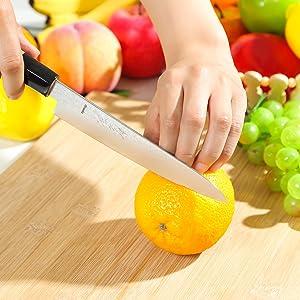 Syosaku Japan Petty Knife Damascus ZA18 69 Layer Octagonal Magnolia Wood Handle, 6-inch (150mm)