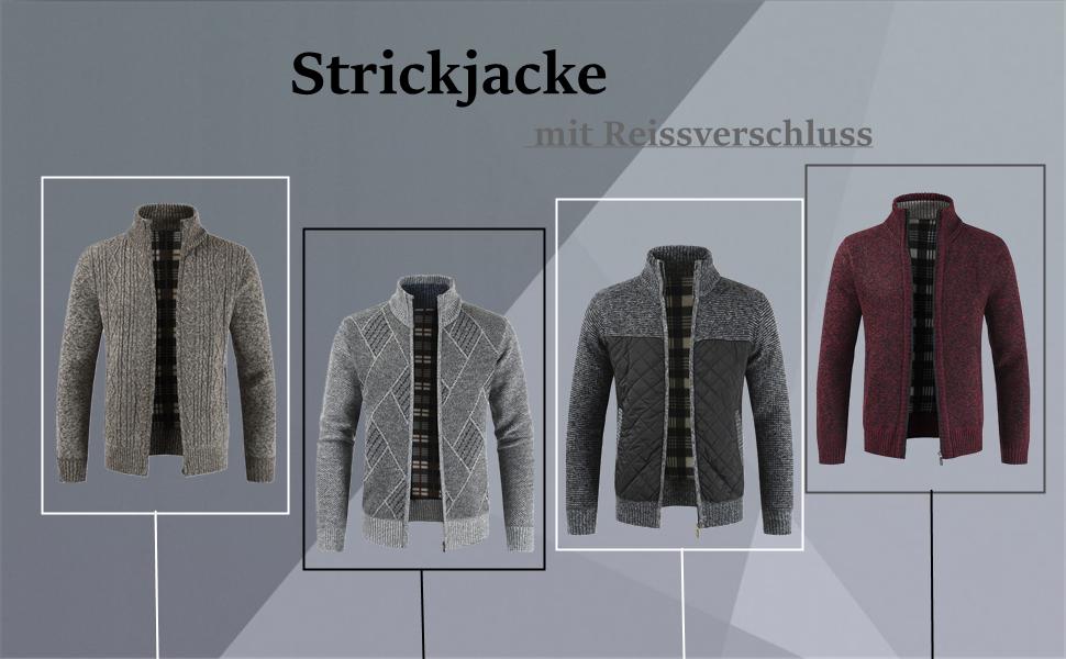 Cyiozlir Herren Strickjacke Mit Rei/ßverschluss Cardigan M/änner Strickjacke Grobstrick Strickmantel mit Stehkragen