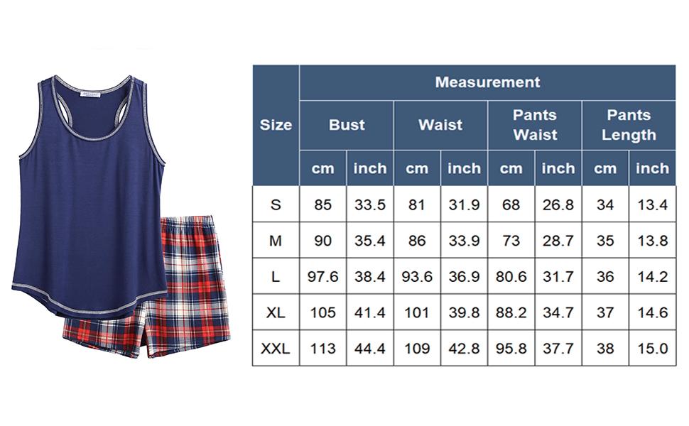 2 Piece Tank Top Set sleeveless tank pajama top and boxer short pajama bottom