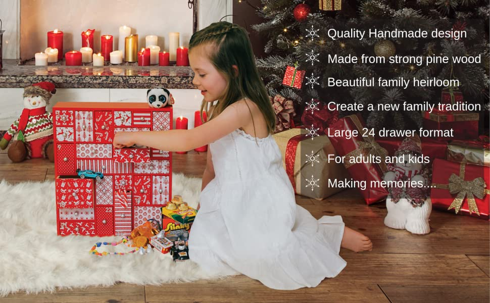 TOPINCN Wooden Red House Christmas Advent Calendar Vintage Style Countdown Calendars with Drawers for Indoor Xmas Decoration