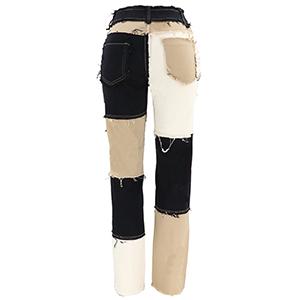 Patch work denim mid-rise jeans