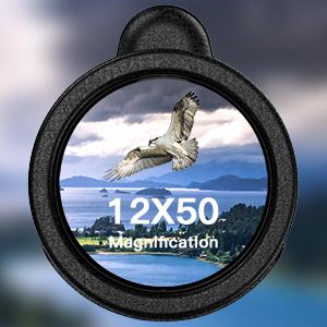 Aotlet Monokulare Telescopio con clip HD 12 x 50 Monocular resistente al agua prism/áticos antivaho con soporte para smartphone Fit tr/ípode para observaci/ón de aves caza senderismo concierto