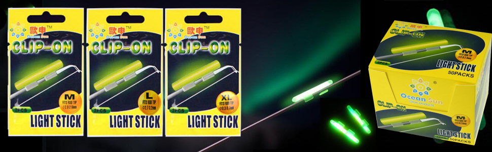 Green Fishing Rod Clip Spare 10Pcs Light Stick Clip On Tip Night Fishing