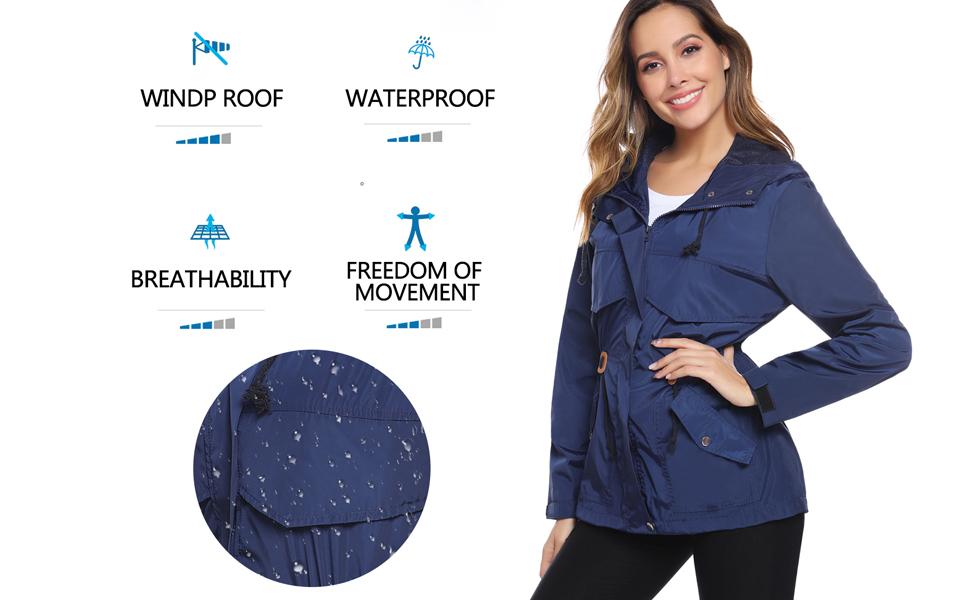 Hawiton Womens Lightweight Hooded Raincoat Waterproof Active Outdoor Windbreaker Rain Jacket