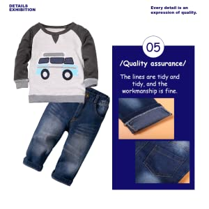 Kids Boys Long Sleeve Hooded and Crew Neck Tee Shirt and Sweatpant 2 Piece Set Kids Clothes