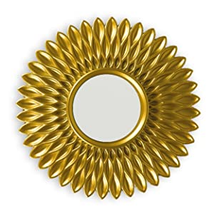 Round mirror to hang on the wall. Pack of 3 units of mirrors in gold with eyebolt
