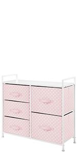 Kids Wide Dresser Cabinet Storage Organizer Unit Polka Dot 5 Drawer Tall Storage Unit