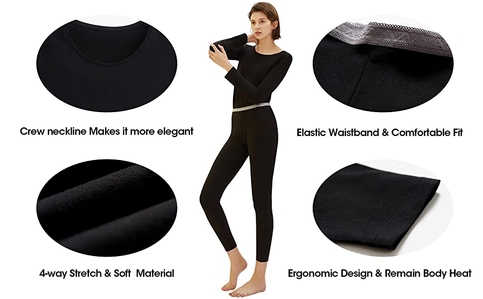 SANQIANG Womens Exposed Waistband Thermal Underwear Set Cotton Long Johns Set Base Layer Tagless Top /& Bottom 23092