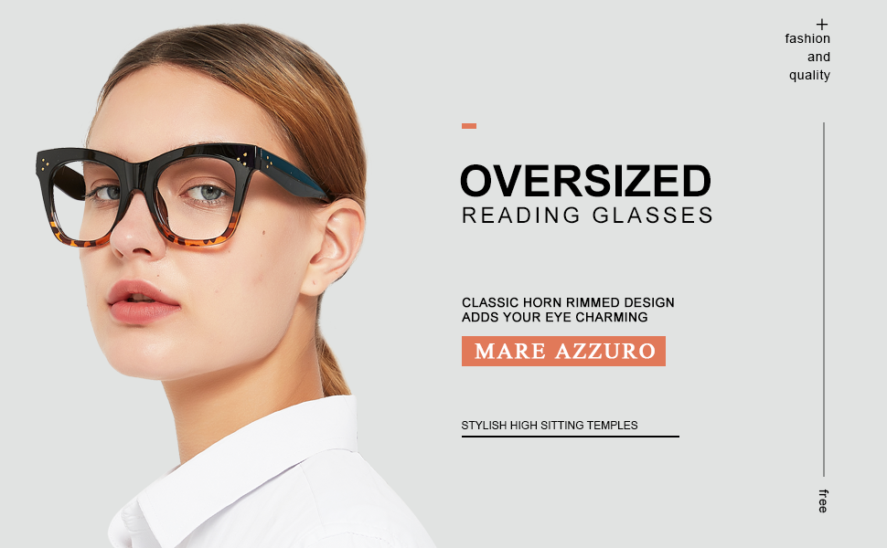 MARE AZZURO Oversized reading glasses women stylish cat-eye readers 0 1.0 1.5 2.0 2.5 3.0 3.5