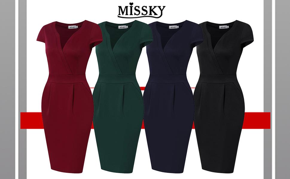 d5d397632f292 MISSKY Women's V-Neck Work Business Bodycon Pencil Dress