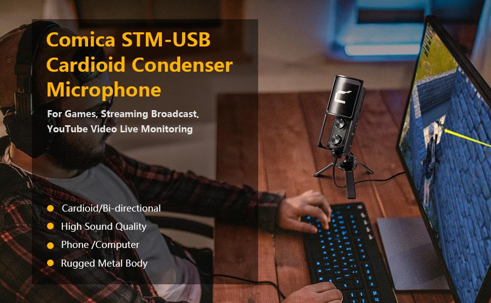 Cardioid USB Microphone COMICA STM-USB Desktop Computer USB Microphone Condenser Type-C Mic