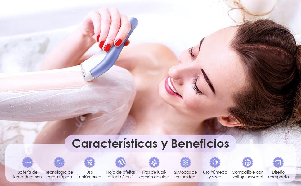 Afeitadora Eléctrica para Mujer, Ribivaul Afeitadora Mujer ...