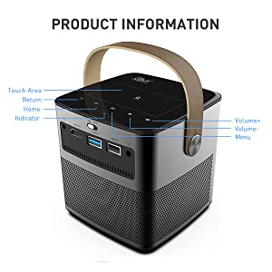 Mini Portable Cinema Projector Native 720p HD Android 3D Projector 4K Ultra HD Support Built-in Hi-Fi Speaker and 12000mAh Batteries