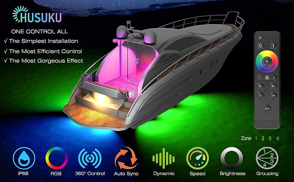 SOOP3 R 1200LM 3 Round 18LED IP68 Boat Transom Mount Light Waterproof HUSUKU LED Marine Courtesy Lights LED Lights Underwater Stern//Pontoon//Marine Lights 10-36V 316 Stainless Steel