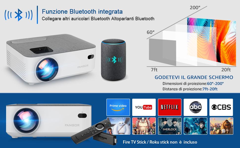 Mini proiettore bluetooth portatile