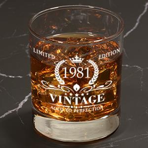 Vintage 1981 40th Birthday Cut Crystal Whisky Glass