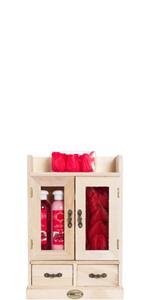 Illustration d'un ensemble de beauté dans une armoire en bois