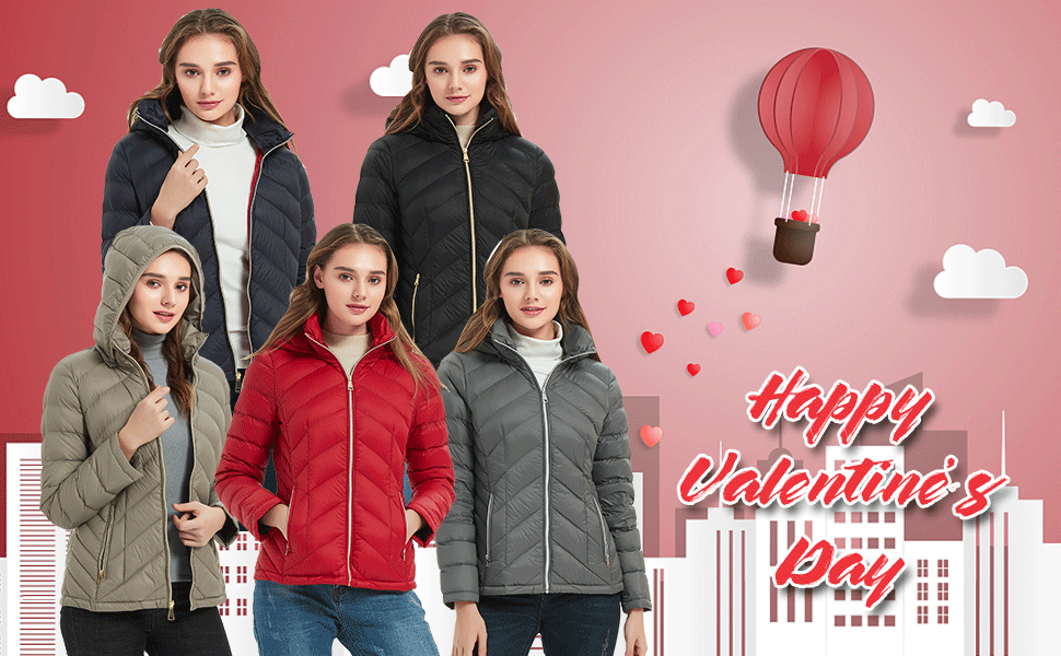 valentines day gifts deals down jackets winter warm packable light soft hood short down fashion coat