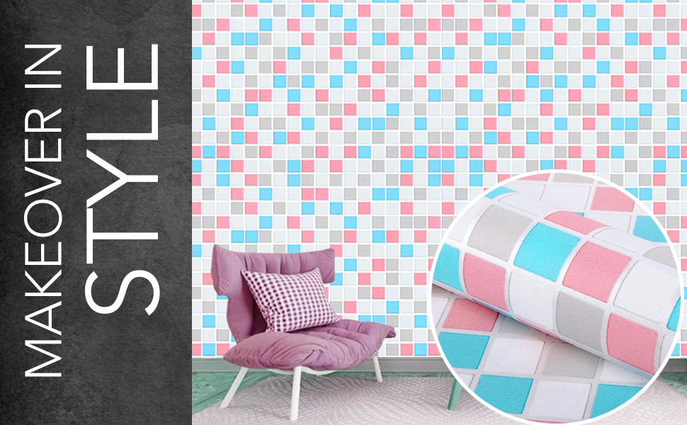 wall stickers wallpaper for kitchen, bathroom self adhesive backsplash mosaic tiles contact papers