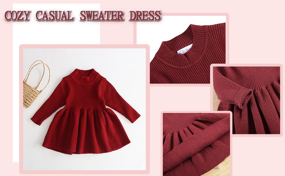 Girls pleated sweater dress