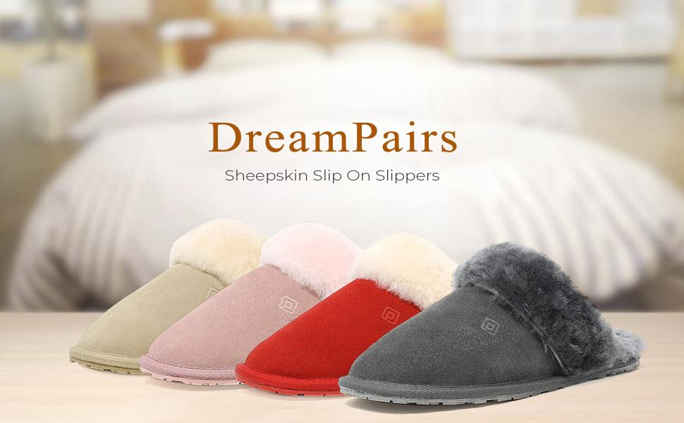 sheepskin shearling fur winter house slipper for women indoor outdoor suede comfort soft winter shoe