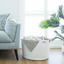 blanket basket for living room storage