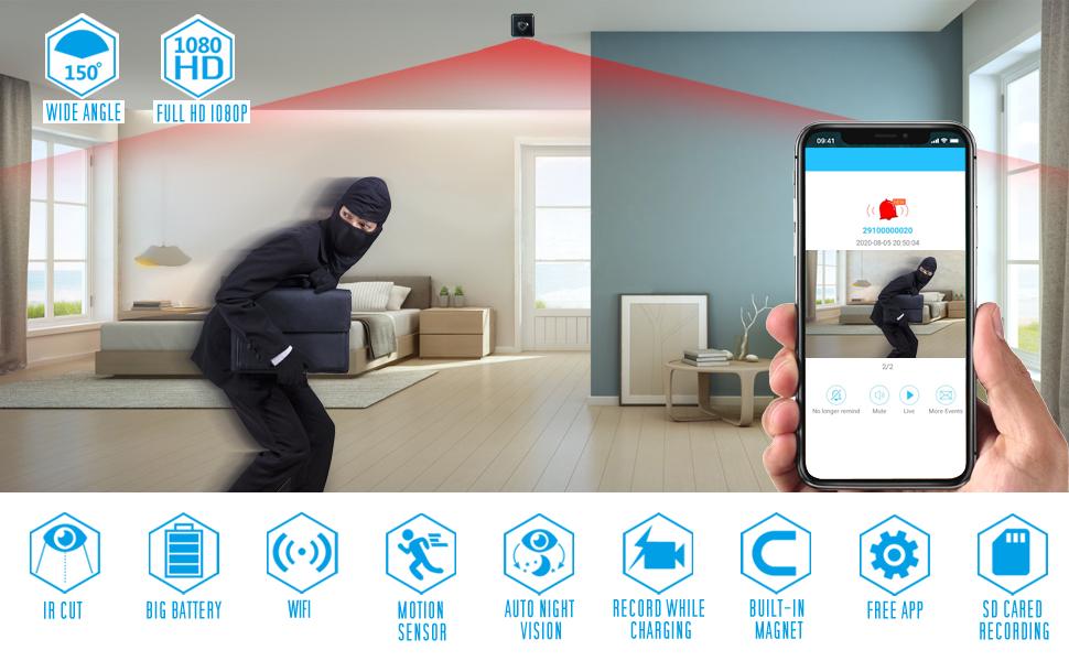 Spy Camera Wireless Hidden Mini WiFi AREBI 1080P Portable Small Nanny Security Video Recorder