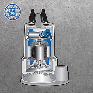 PSC motor, Permanent Split Capacitor, carbon/ceramic shaft seals, thermal protection, SP sump pump