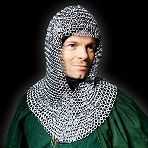 headdress maile maille camail cammail hoodcostume LARP SCA Reenactment knight warrior cosplay COIF