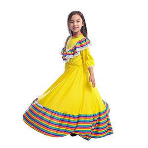 Cinco de Mayo Mexican Fiesta Costume Long Dancing Dress for Carnival Festival Birthday Party Girls Mexican Dress