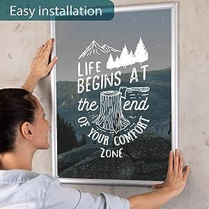 easy open snap frame,  Poster frame 18x24, Diploma frame 11x14, Easy instalation snap frame