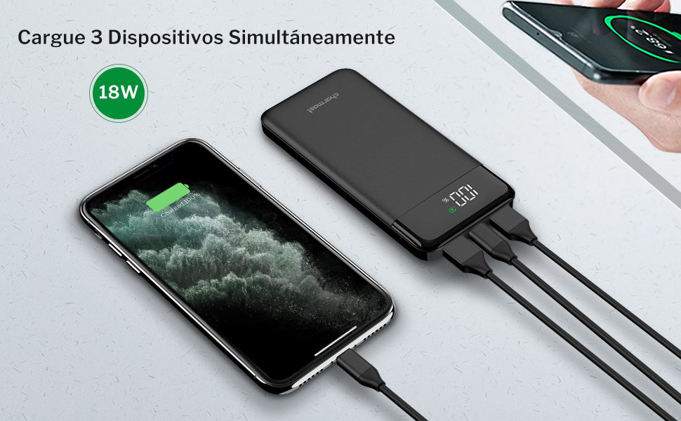 Charmas Batería Externa Carga Rápida 10000 mAh power delivery quick charge 18W con LED Display