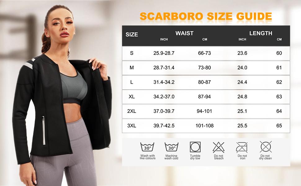 SCARBORO Women Neoprene Sauna Suits Long Sleeve Running Workout Jacket -04